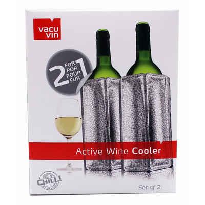 VACUVIN Outdoor-Flaschenkühler 2x 38805626 Aktiv Kühler Motiv Platinum − Weinkühler für 0,75l Flaschen