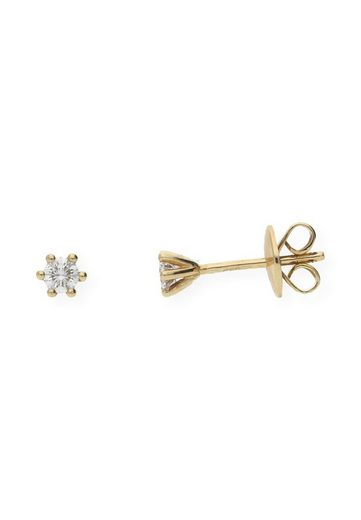 JuwelmaLux Paar Ohrstecker »Ohrstecker Gelbgold mit Diamant(en)« (2-tlg), Damen Ohrstecker Gelbgold 585/000, inkl. Schmuckschachtel