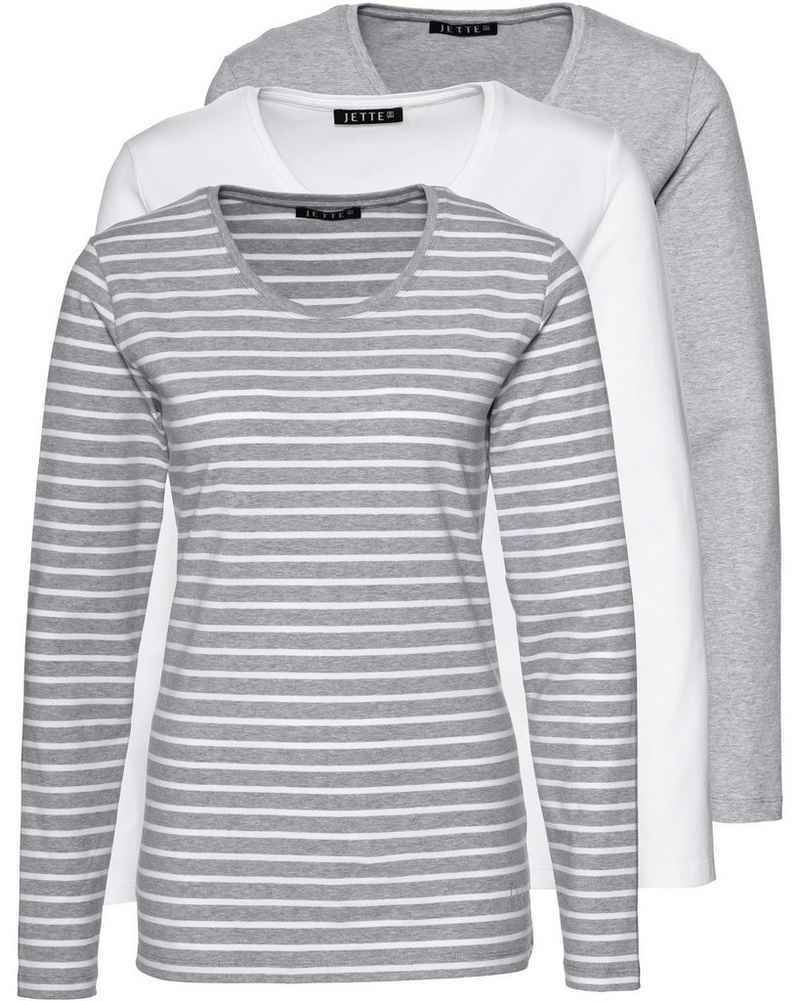 JETTE Langarmshirt »Langarm-Shirt, 3er-Pack«