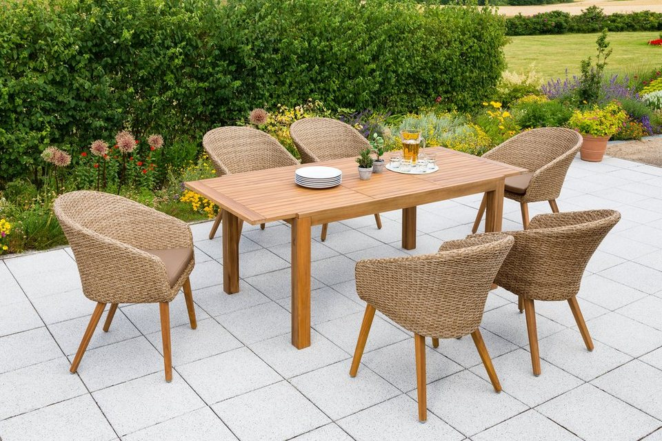 Merxx Gartenmobelset Arrone 13 Tlg 6 Sessel Tisch Ausziehbar