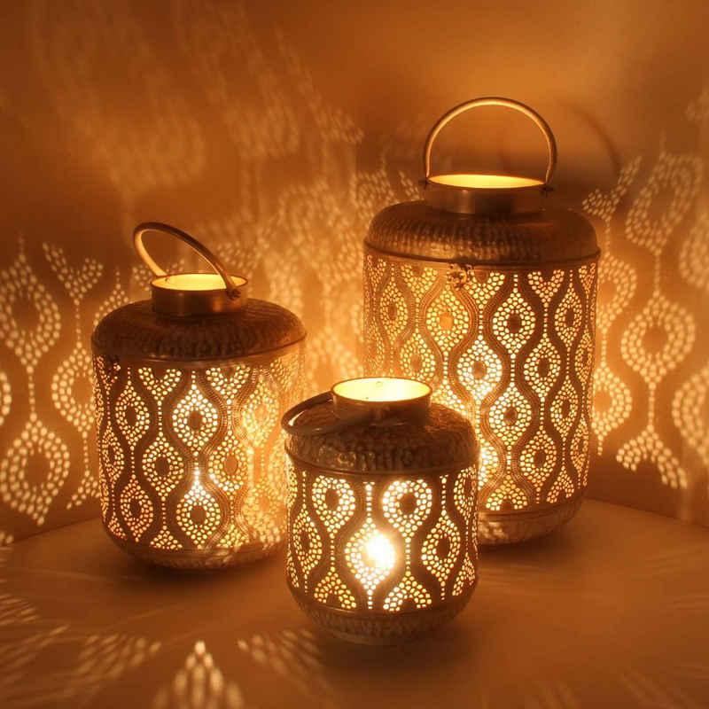 Casa Moro Laterne »Orientalische Laternen Suraya 3er Set in Shabby Chic Weiss Gold aus Metall, Marokkanische Windlichter stehend & hängend, Tischlaterne für Hochzeit Feier Dekoration Geschenk, IRL5010« (3er Set), Creame Gold
