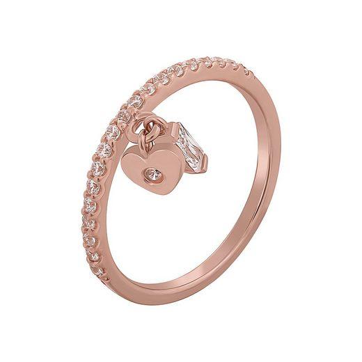 CAÏ Silberring »925 Silber rosévergoldet mit Anhägern Herz Zirkoni«, der zweite mit Zirkonia in Baguetteform