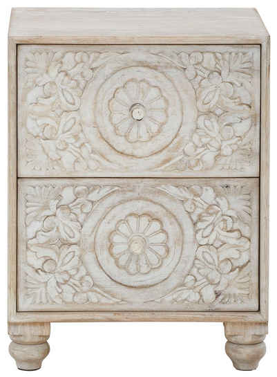Home affaire Nachtkommode »Fenris«, aus massiven, pflegeleichten Mangoholz, mit dekorativen Schnitzereien, Breite 50 cm