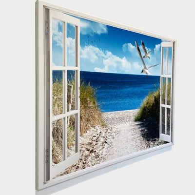 Dekoli Leinwandbild »Leinwandbild mit Fensterblick - Druck auf Canvas Leinwand - moderner Kunstdruck - XXL Wandbild – Fenster mit Aussicht - Keilrahmen mit Druck«, Strand mit Möwen, Leinwandbild geeignet für alle Wohnbereiche