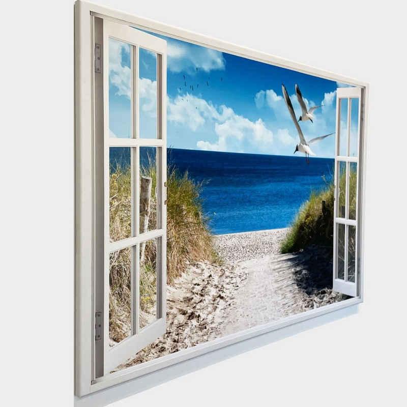 """Dekoli Leinwandbild »""""Fenster mit Aussicht""""«, Strand mit Möwen, Leinwandbild geeignet für alle Wohnbereiche"""