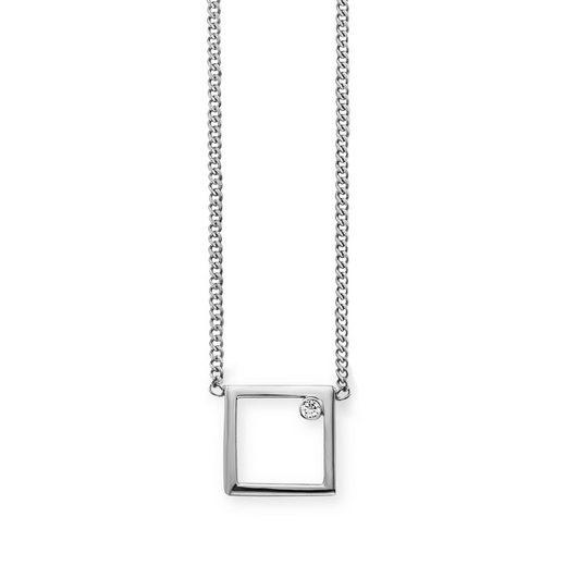 CAÏ Collier »925/- Sterling Silber rhodiniert Rechteck Zirkonia«