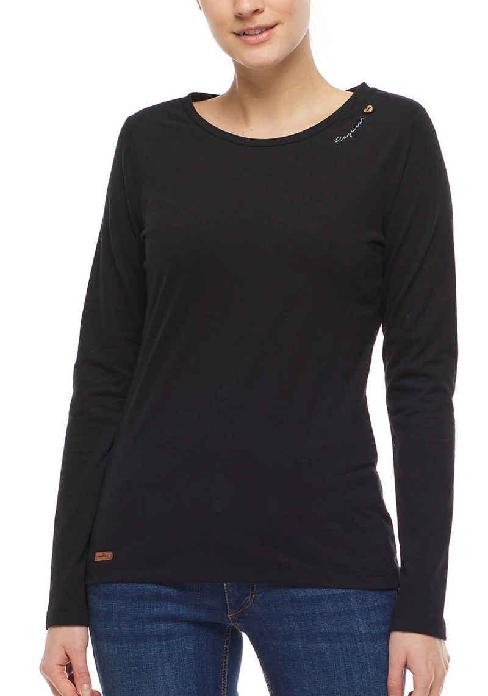 Ragwear T-Shirt »MINT LONG« mit Zierknopf-Besatz in natürlicher Holzoptik
