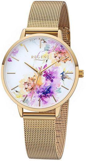 Regent Quarzuhr »URBA499 Regent Damen Analog Uhr BA-499 Metall«, (Analoguhr), Damen Armbanduhr rund, Metallarmband gold