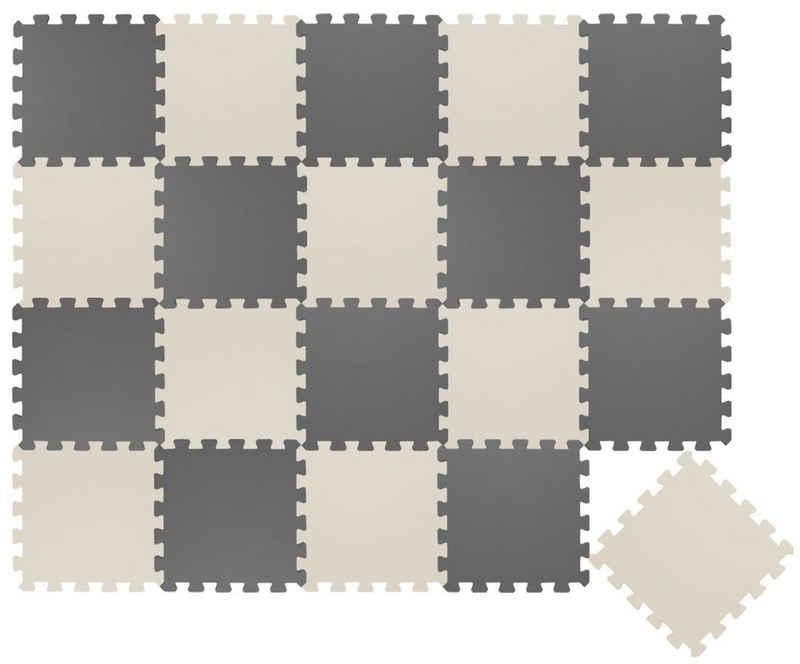 LittleTom Puzzlematte »20 Teile Baby Kinder Puzzlematte ab Null - 30x30cm«, Puzzleteile, grau beige Kindermatte