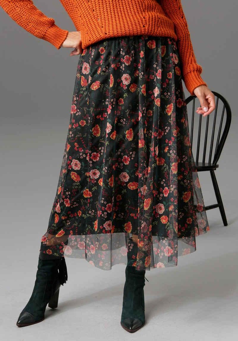 Aniston CASUAL Maxirock mit romantischem Blumendruck - NEUE KOLLEKTION