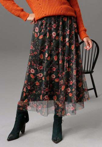 Aniston CASUAL Maxirock su romantischem Blumendruck -...