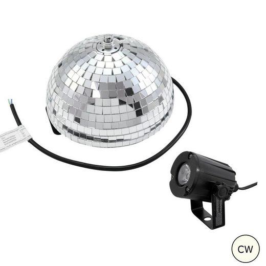 SATISFIRE Discolicht »Set Halbspiegelkugel 20cm + 1 x LED Pinspot 3W Kaltweiss«