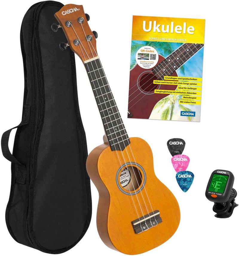 Cascha Ukulele »Sopran, Gelb«, mit Tasche, Übungsheft, Plektren und Stimmgerät
