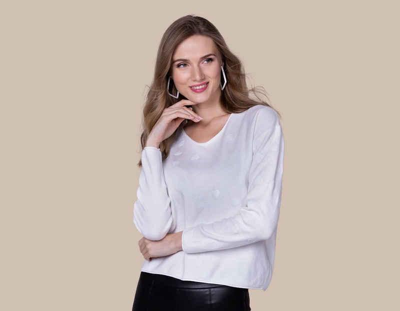 Passioni Strickpullover »Boxy Pullover mit paillettenbestickten Herzen«