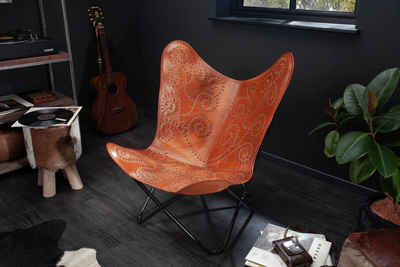 riess-ambiente Sessel »BUTTERFLY hellbraun«, mit Echtlederbezug