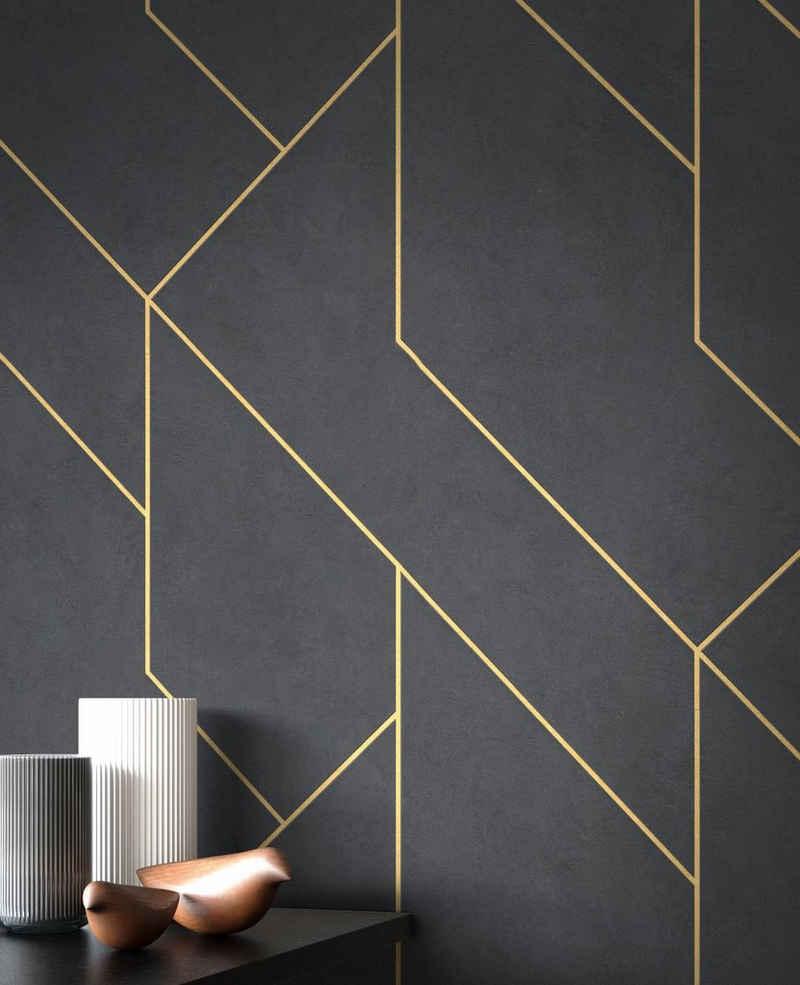 Newroom Vliestapete, Schwarz Tapete Modern Linien - Muster Gold Grafiktapete Mustertapete Grafik Grafisch Geometrisch für Wohnzimmer Schlafzimmer Küche