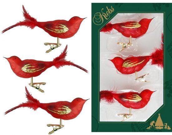 Krebs Glas Lauscha Weihnachtsbaumklammer »CBK80876« (3-tlg), Vogelsortiment