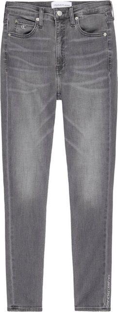 Hosen - Calvin Klein Jeans Skinny fit Jeans »MID RISE SKINNY ANKLE« mit Calvin Klein Jeans Logo Badge Schriftzug › grau  - Onlineshop OTTO
