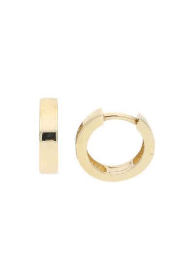 JuwelmaLux Paar Creolen »Creolen Gold Ohrringe 3 x 12,5 mm« (2-tlg), Unisex Creolen Gold 333/000, inkl. Schmuckschachtel