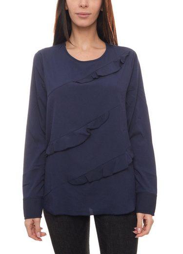 Heine Blusentop »heine Shirt Rüschen-Bluse fein fließende Langarm-Bluse für Damen mit Rundhalsausschnitt Jersey-Bluse Marine«