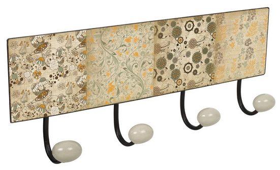 Lashuma Wandhaken »Ornamente«, 4er Garderobenleiste 40x15,5 cm, Blechschild Haken