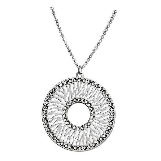 Lotus Style Kette mit Anhänger »JLS1722-1-1 Lotus Style Halskette silber weiß« (Halsketten), Halsketten für Damen Edelstahl (Stainless Steel)