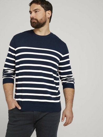 TOM TAILOR Men Plus Strickpullover »gestreiftes SweaT-Shirt mit Bio-Baumwolle«