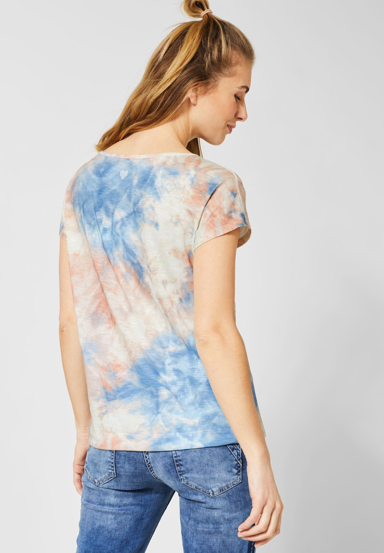 Cecil Rundhalsshirt mit Tie-Dye-Effekt und Schriftzug PaIXJh