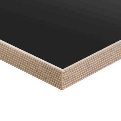 boho office® Schreibtischplatte, melaminharz-beschichtete Tischplatte 140 x 80 cm in Schwarz mit Multiplex-Kante in Birke Echtholz lackiert