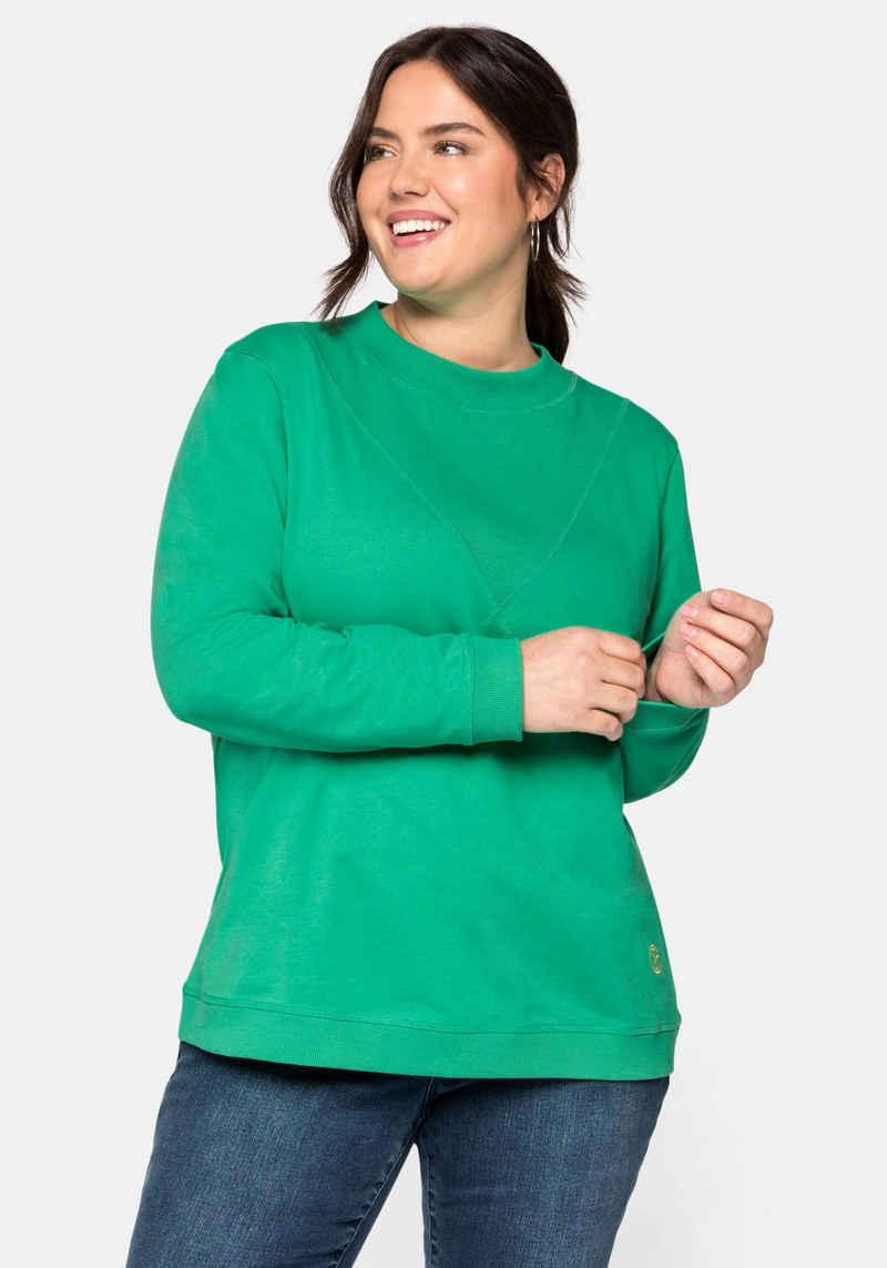 Sheego Sweatshirt mit Stehkragen und Rippeinsatz vorn