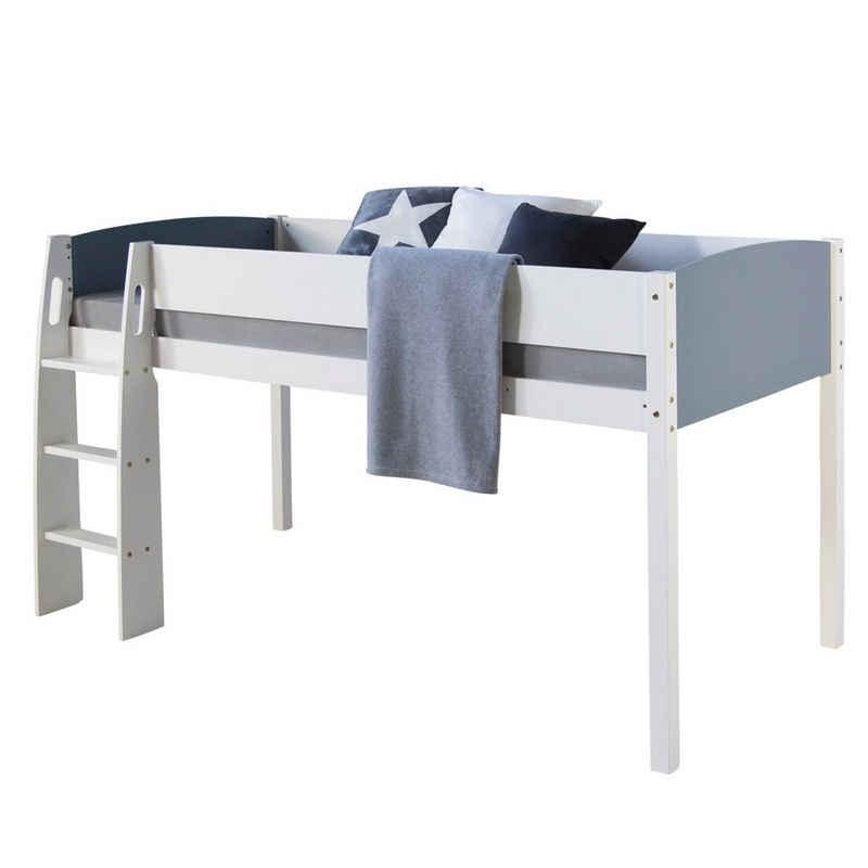 Homestyle4u Hochbett »Spielbett Kinderbett 90x200 massiv« (Hochbett mit Leiter, ohne Lattenrost, ohne Matratze)