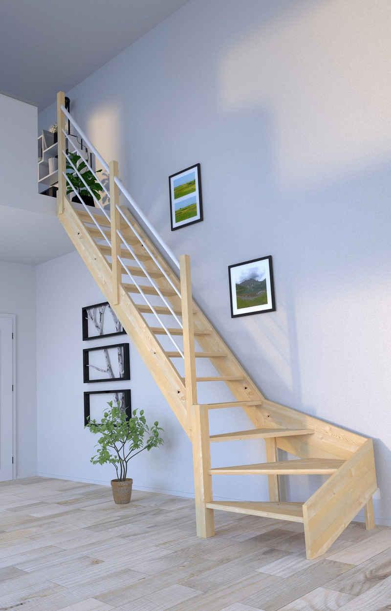 Starwood Raumspartreppe »Massivholz Korfu, Design-Geländer Edelstahl«, für Geschosshöhen bis 300 cm, Stufen offen, Durchgehende Wangenteile