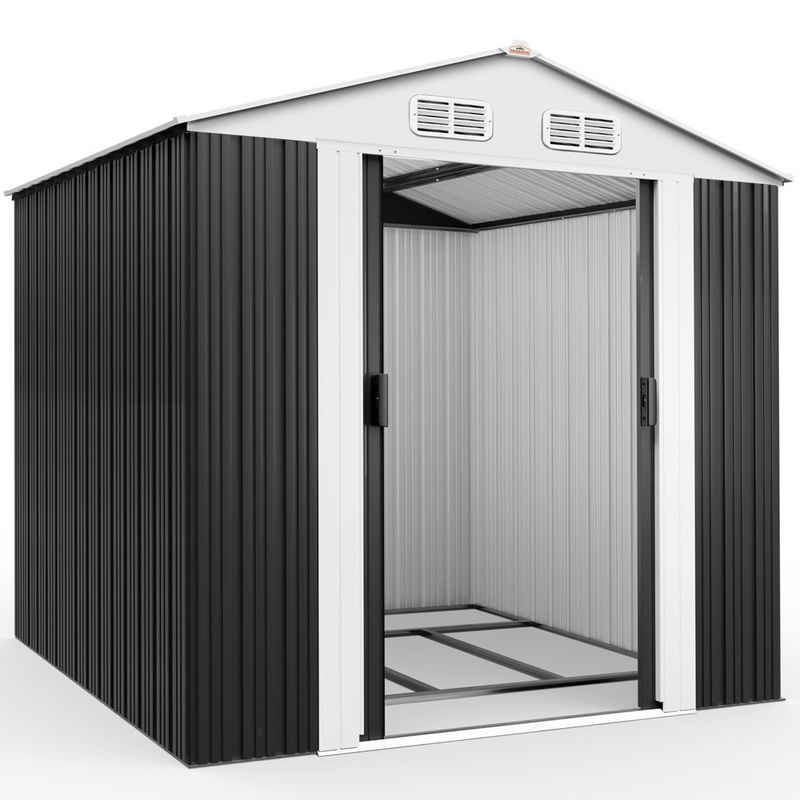 Gardebruk Gerätehaus, XXL Metall 5m² mit Fundament 257x205x177,5cm Schiebetür Anthrazit Geräteschuppen Gartenhaus 8,4m³