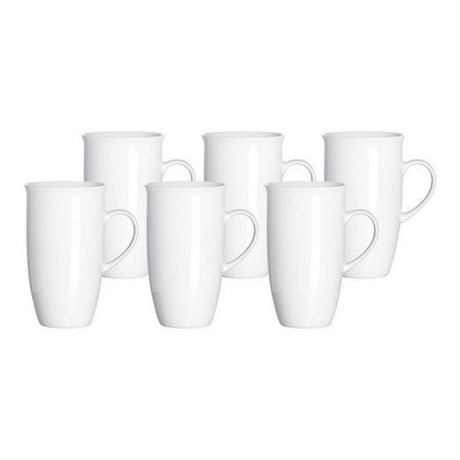 Ritzenhoff & Breker Tasse »BIANCO Kaffeebecher 500 ml weiß 6er Set« (6-tlg), Porzellan