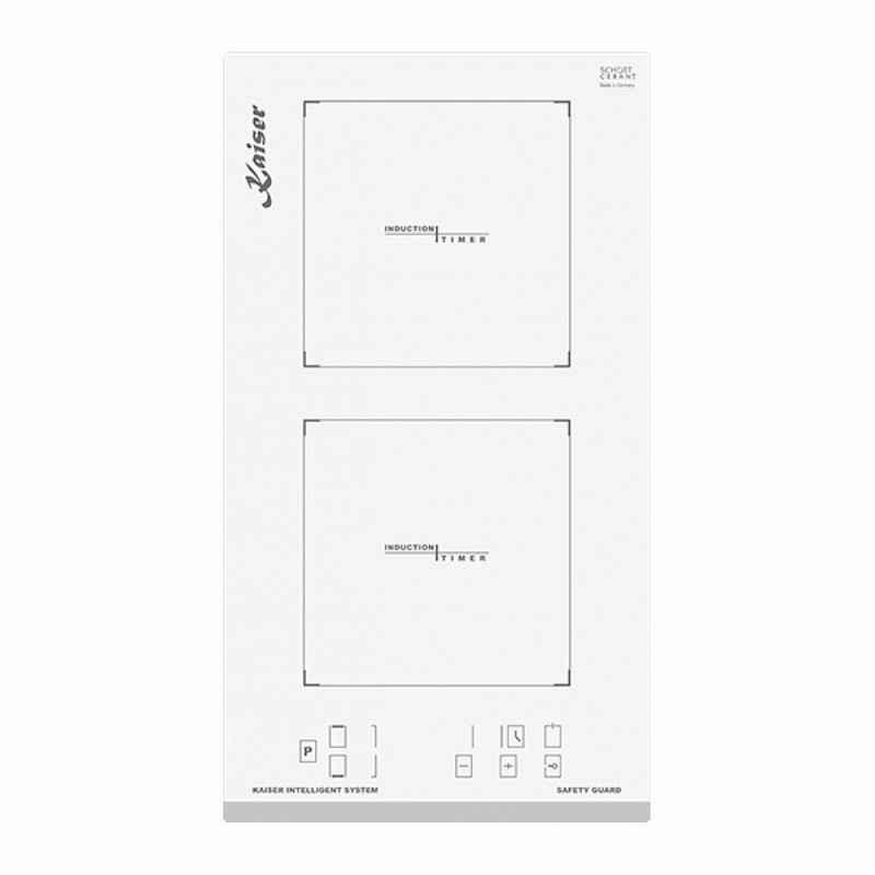 Kaiser Küchengeräte Induktions-Kochfeld, Weißes Glas, Facette vorne,30 cm, Domino Induktionskochfeld,Funktionsdisplay