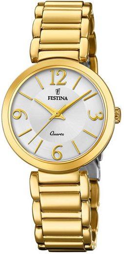 Festina Quarzuhr »UF20214/1 Festina Damen Uhr F20214/1 Edelstahl«, (Analoguhr), Damen Armbanduhr rund, Edelstahlarmband gold