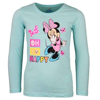 Disney Minnie Mouse Langarmshirt »Minnie Maus Kinder Shirt« Gr. 104 bis 134, 100% Baumwolle, in Hellblau