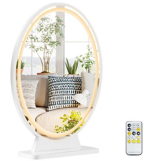 COSTWAY Kosmetikspiegel »Tischspiegel«, LED Kosmetikspiegel mit einstellbare Helligkeit, mit 4 Beleuchtungsmodi, Makeup Spiegel mit Fernbedienung, inkl. Montagezubehör und - Werkzeuge