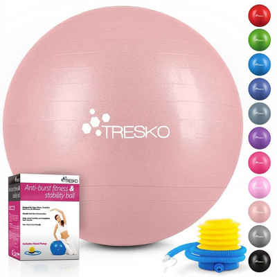 TRESKO Gymnastikball, Yogaball mit GRATIS Übungsposter inkl. Luftpumpe - Fitnessball BPA-Frei, Sitzball Büro, Sitzball Anti-Burst, 300 kg Belastbarkeit