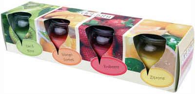 """HS Candle Duftkerze (4-tlg), Kerze im Glas """"Fruit"""", 4er Pack mit je ca. 18 Std. Brenndauer, Höhe: 6cm, Ø5,8cm"""