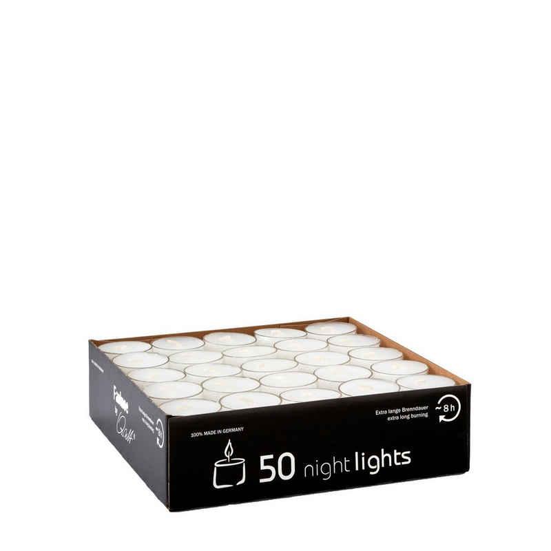 Qult Teelicht »Nightlights« (50-tlg., Inhalt gesamt sind 50 Nightlights Teelichter), Teelichter in Kunststoffhülle und Premiumqualität - Rußfrei - ca. 8 Stunden Brenndauer - Gastro Großpackung - Sparpack - unbeduftet