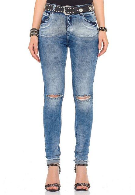 Hosen - Cipo Baxx Slim fit Jeans mit coolem Gürtel › schwarz  - Onlineshop OTTO