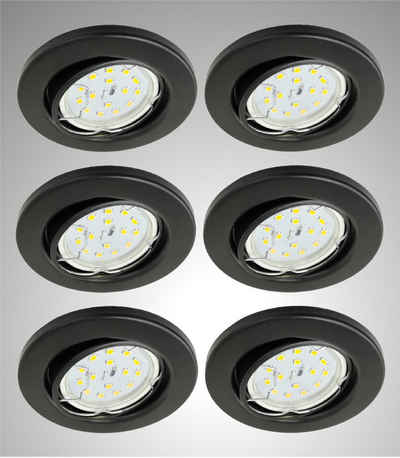 TRANGO LED Einbauleuchte, 6729-065GUSDAK 6er Set LED Deckenstrahler in Schwarz matt Rund inkl. 6x 5 Watt 3-Stufen dimmbar GU10 LED Leuchtmittel 3000K warmweiß leuchtend Einbaustrahler, Einbauspot, Deckenleuchte, Deckenspots