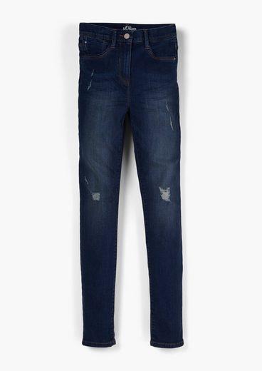 s.Oliver 5-Pocket-Jeans »Slim: Jeans mit Destroyes« Waschung, Destroyes