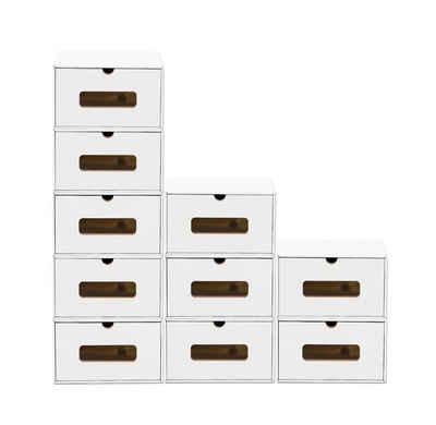 BigDean Schuhbox »10er Set mit Sichtfenster & Schublade − Pappkarton aus Kraftpapier − Schuhkasten Schuhkarton Spielzeug−Box Aufbewahrung stapelbar« (10 Stück)