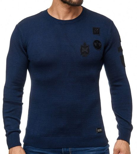 Rusty Neal Rundhalspullover »RUSTY NEAL Sweatshirt moderner Pullover Herren Rundhals Sweater Trendpullover Dunkelbau«