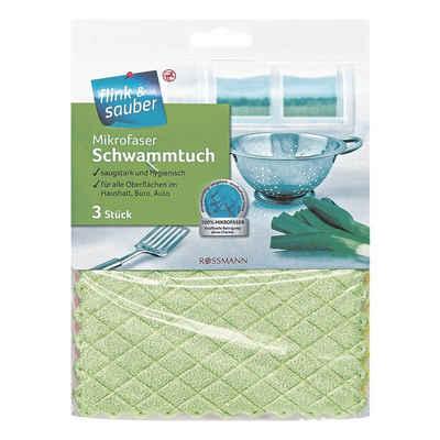 flink & sauber Spültuch, (3-tlg), Schwammtücher