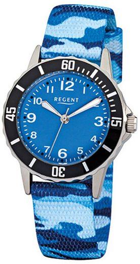 Regent Quarzuhr »URF940 Regent Kinder-Armbanduhr blau Analog F-940«, (Analoguhr), Kinder Armbanduhr rund, klein (ca. 29mm), Metall, Fashion