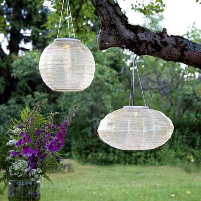 STAR TRADING Lampion »LED Solar Lampion FESTIVAL für Balkon Terrasse Garten D: 25cm Dämmerungssensor«