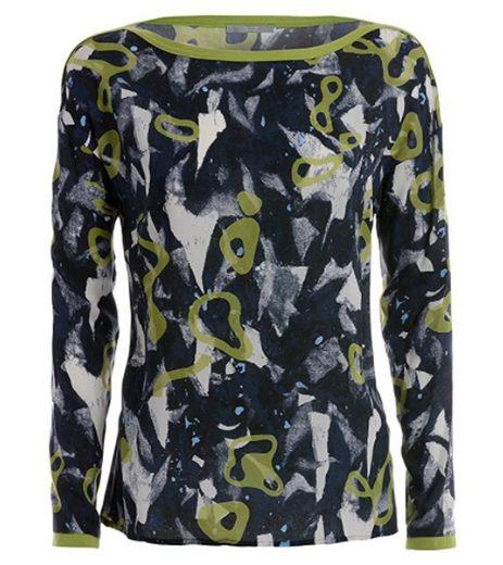 TUZZI Langarmbluse »TUZZI Blusen-Shirt schicke Damen Langarm-Bluse mit Allover-Print Sommer-Bluse Marine«